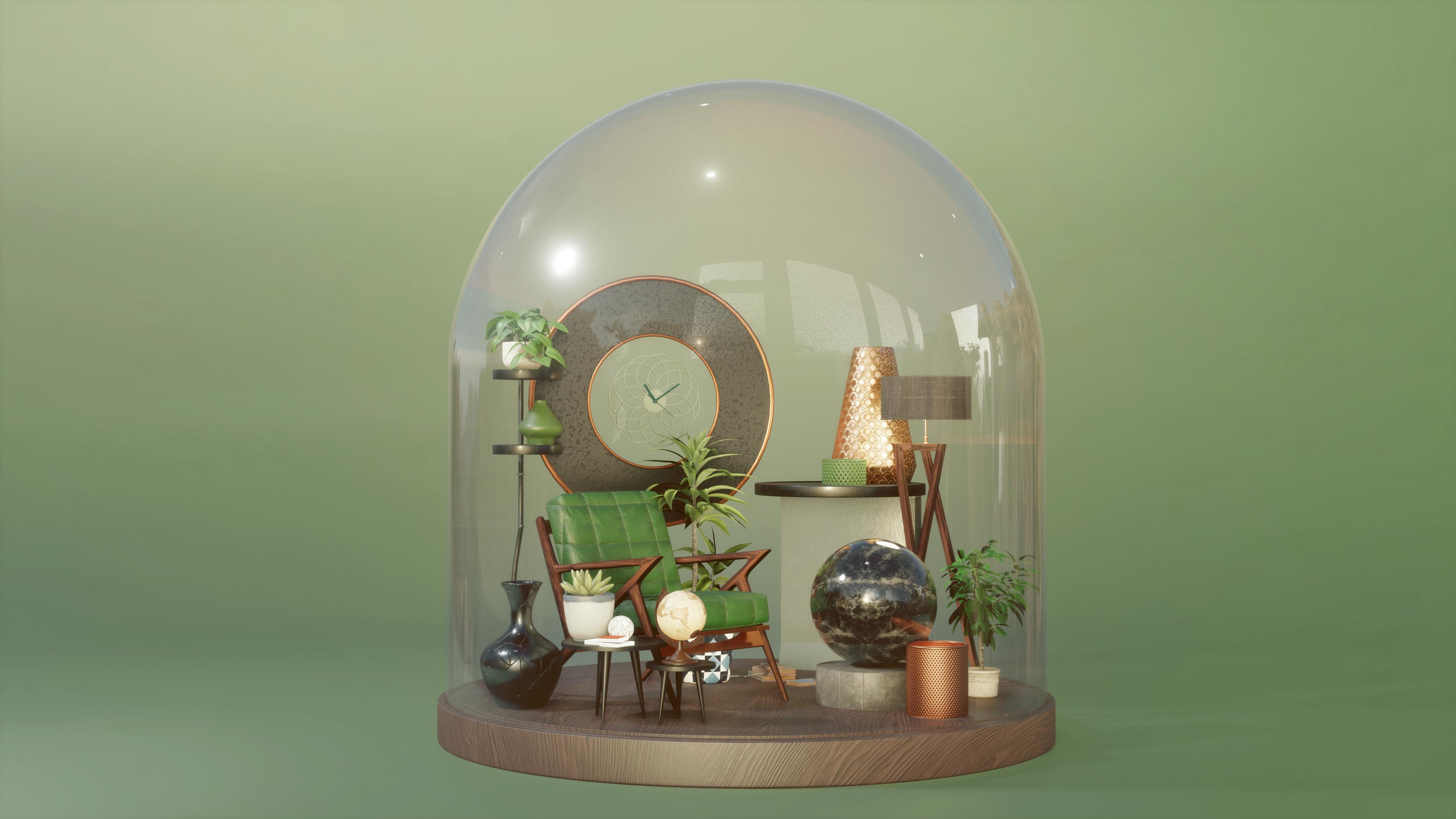 Appart maison plante bureaux 3d miniature laurent meriaux graphiste clermont ferrand